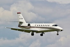 Cessna 680 Citation Sovereign OK-SEM arrives at a stormy Oxford / London Airport . (Bob Symes) Tags: