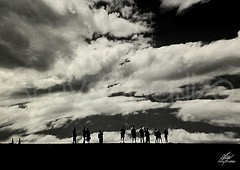 People in front of the sky (Amy Charlize) Tags: amycharlize focosocial sky people clouds blackandwhite shadow