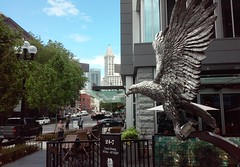 13 Coins on King St - June 6, 2019 (Jeffxx) Tags: seattle 2019 june 13 coins eagle sculpture statue silver smith tower downtown hilton hotel fish