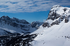 Valley Deep, Mountain High (ellieupson) Tags: canmore canada alberta banff nationalpark aerial helicopter sky blue clouds white snow mountain summit peak valley rocks