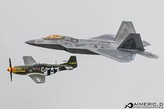 Lockheed Martin F-22 A Raptor & North American P-51D Mustang (Aimeric D. Photographies) Tags: f22 fihter aircraft avion plane spotter riat fairford usaf meeting aérien aerien air pilot take off landing