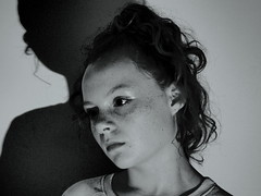 In my shadow (oneofmanybills) Tags: portrait silhouette shadow bw blackandwhite head serene innocence olympus micro43