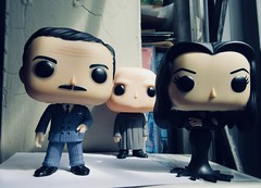 Gomez and Morticia Addams with Uncle Fester 0595 (Brechtbug) Tags: gomez with morticia addams uncle fester funko pop figure halloween family big head figures vinyl tv series from 1965 1960s charles chas cartoon cartoonist eccentric island lost souls holiday evil mad scientist creature vamp man monsters toy toys bobble heads 2019 june