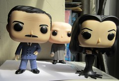 Gomez and Morticia Addams with Uncle Fester 0590 (Brechtbug) Tags: gomez with morticia addams uncle fester funko pop figure halloween family big head figures vinyl tv series from 1965 1960s charles chas cartoon cartoonist eccentric island lost souls holiday evil mad scientist creature vamp man monsters toy toys bobble heads 2019 june