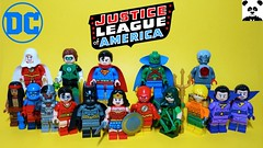 Justice League (HaphazardPanda) Tags: lego figs fig figures figure minifigs minifig minifigures minifigure purist purists character characters comics comic book books story group super hero heroes superhero superheroes dc justice league batman apache chief the atom cyborg plastic man wonder woman flash green arrow aquaman twins shazam lantern superman martian manhunter captain marvel
