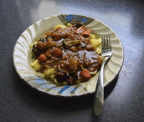 Vegetarian Portobello Pot Roast On Gluten Free Buttered Egg Noodles