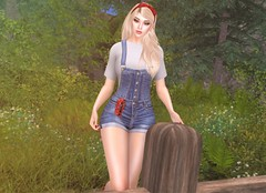 Snow White (EnviouSLAY) Tags: snowwhite snow white blond longhair long hair bow red denim overalls shirt croptop crop top forest makeup eyeshadow letre lipstick lipgloss eyebrows newreleases new releases osmia kuni genus classic belleza bento freya anthem uber monthlyevent monthlyfair monthlyfashion monthly fair fashion event pale female male gay lgbt blogger secondlife second life photography