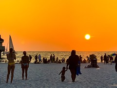 Clearwater Beach Sunset at Pier 60 (subrec) Tags: ocean sunset orange sun beach gulfofmexico sand sundown tampabay florida bikini orangesky clearwater iphone pier60 beachbabes colorfulsky skyporn iphonexsmax sailboat whitesand