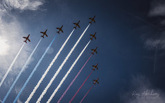 Red, White & Blue (RTA Photography) Tags: torbayairshow2019 torbay paignton rtaphotography nikond750 d750 tamron70300 sky outdoors aircraft theredarrows raf hawkjets trails clouds sun light lensflare
