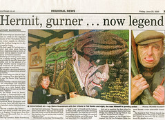 The Northern Echo, June 23rd, 2000, Page 3 (The Rustic Frog) Tags: north yorkshire dales news paper newspaper northern echo clip page 3 2000 june hermit gurner cutting rag rug wall hanging wallhanging