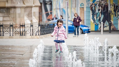 Fountain Fun (Stephen_Lavery) Tags: child dance fountain fun laughter sing splash spray water younggirl europe young children happy female walking family summer day outdoor person architecture city urban street travel people wet