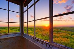 St. Croix Fire Tower Sunrise (Tony Webster) Tags: minnesota saintcroixstatepark stcroixstatepark clouds firetower observationtower sky statepark sun sunburst sunrise sunshine trees crosbytownship unitedstatesofamerica