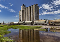 Reflection of Agriculture (Kool Cats Photography over 12 Million Views) Tags: architecture grainstorage agriculture buildings canon1635mmf4isllens canon clouds cloud elreno facility grass landscape oklahoma outdoor outdoors photography railcar railroad reflection scene scenic sky tracks train
