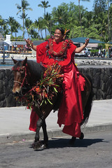 Pa'u Princess of Hawai'i Island (BarryFackler) Tags: pauprincess paurider horsewoman wahine rider horse woman female aliidrive celebration parade event kingkamehamehaday kingkamehmehadayparade holiday polynesia people sandwichislands bigisland 2019 hawaiianislands hawaiicounty hawaii kailuakona northkona hawaiiisland westhawaii kona lei pauskirt headdress saddle reins bridle seawall street outdoors rockwall island lady animal beautiful