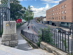 ONGOING DEVELOPMENT AND RENEWAL AT BROADSTONE [NEAR THE LUAS TRAM STOP]-152976 (infomatique) Tags: red broadstone luas tramstop publictransport streetphotography streetsofdublin williammurphy infomatique fotonique apple iphone xr areasofdublin urbanrenewal