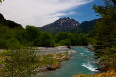 Looking Back (tez-guitar) Tags: river stream peak water sky kamikochi shinshu nagano leica leicacl