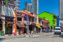 Traditional shop houses on Arab Street in Singapore (UweBKK (α 77 on )) Tags: traditional shop house building architecture color colour colorful colourful arabstreet arab street road car singapore southeast asia city urban sony alpha 77 slt dslr