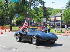 West Essex Memorial Day Parade, 2019 - Corvette and Flag (smaginnis11565) Tags: chevroletcorvette sportscar mark3corvette westessexmemorialdayparade 52719 caldwell newjersey essexcounty