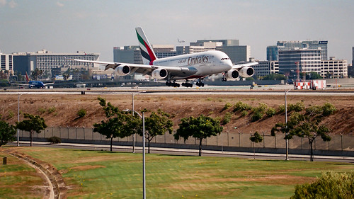 Emirates Airbus A380 Landing at LAX