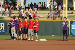 Kiddos on the field during the anthem (Minda Haas Kuhlmann) Tags: sports baseball milb minorleaguebaseball pacificcoastleague omahastormchasers nebraska omaha papillion sarpycounty outdoors runzanight fans onfieldpromotions