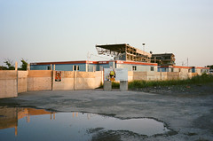 (edwardlepine) Tags: flickr demolition horseracing hippodrome bluebonnets montreal quebec canada analog film 35mm yashica jeantalon construction portra400