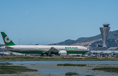 eva airlines taxis to departure (pbo31) Tags: bayarea california nikon d810 color june 2019 julie boury pbo31 spring sanmateocounty sanfranciscointernational sfo airport airline travel plane aviation burlingame boeing 777 evaairlines taxi departure control tower