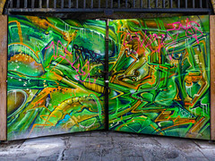 Dali's Eye (Steve Taylor (Photography)) Tags: eye garage door gate graffiti mural streetart green yellow orange colourful uk gb england greatbritain unitedkingdom london
