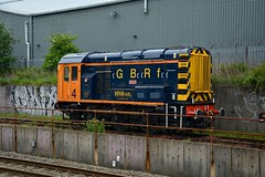 """Harry Needle Railroad Company Class 08, 08818 """"Molly"""" (37190 """"Dalzell"""") Tags: gbrf gbrailfreight orangeblue hectorgroup hnrc harryneedlerailroadcompany orangegrey shunter rods gronk ee englishelectric class08 no4 08818 molly d3986 spekejunction garston liverpool"""