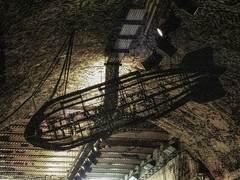 The Vaults Airship (Steve Taylor (Photography)) Tags: thevaults leakestreet glow sign contrast eerie uk gb england greatbritain unitedkingdom london perspective texture tunnel passage leakstreet zepplin airship frame spotlights cable art digitalart black metal wire shape