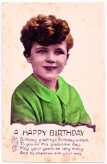 Greetings Card - Birthday. And Benny Green. (pepandtim) Tags: postcard old early nostalgia nostalgic greetings card birthday boy real hand coloured photograph gladsome 09121927 1927 elton north end road fulham london edie leeds benny green british jazz saxophonist radio shows books 72gre32 david fanny tailor 1926 russian jewish greenwell street cleveland 1998 wodehouse clipstone