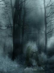 Minuit dans le jardin du bien et du mal... (Sabine-Barras) Tags: dark forest forêt brume smog trees arbres angel ange sculpture conceptual