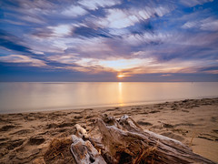 Blocky and rosy (Bryan Esler Photo) Tags: olympus em1x sunset nd luminar grandhaven livecomposite neutraldensity longexposure goldenhour puremichigan