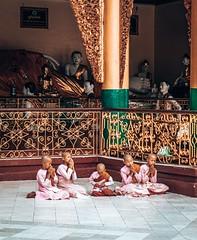 Young monks at Shwedagon Pagoda in Yangon Myanmar