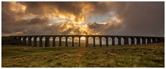 Sunrise at Ribblehead Viaduct (Ian Emerson (Thanks for all the comments and faves) Tags: sunrise ribbleheadviaduct wideangle canon6d photography lightburst arches architecture railwayline settlecarlisle clouds sun yorkshire england moors perfecttiming colourful