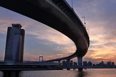 Tokyo Skyway (seiji2012) Tags: japan tokyo rainbowbridge tokyobay sunset dusk 首都高 パノラマ シルエット レインボーブリッジ 日没 silhouette her
