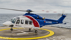 N439BG AgustaWestland AW139 Bristow Helicopters Normand Installer 08.06-19 (rjonsen) Tags: helicopter rotorcraft liftof departure flying helideck deck horizon sea rainy raining