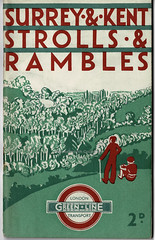 London Transport - Surrey and Kent Strolls and Rambles by Green Line bus and coach services, 1934 (mikeyashworth) Tags: rambles londontransport strolls countrywalksbooklets london underground advertising logo typography graphicdesign booklet bookcover publicity greenline 1934 typeface rambling roundel corporateidentity bookdesign londonpassengertransportboard thevagrant mikeashworthcollection