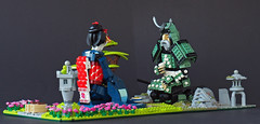 Tea ceremony in Japanese garden (Eero Okkonen) Tags: lego moc japan samurai geisha maiko kimono katana tea
