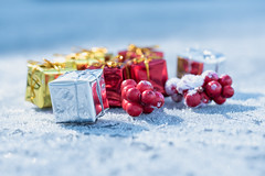 Little presents and red berries on frosty surface with light blue bokeh background (axel-d-fischer) Tags: ornament present copyspace shining decor box balls copy magical xmas christmas bow new defocused sparkle seasonal festive soft season bright round horizontal decoration holiday gift celebrate yellow decorate blurred