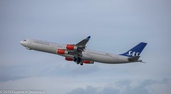 "SAS, Scandinavian Airlines System, LN-RKP, 1997 Airbus A340-313, MSN 167, ""Torfinn Viking"" (Gene Delaney) Tags: sas scandinavianairlinessystem lnrkp 1997airbusa340313 msn167 torfinnviking"