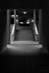 Under Gilbert House (cybertect) Tags: chamberlinpowellandbon cityoflondon ec2 gilbertbridge gilberthouse london londonec2 sonya7ii sonyzeisssonnartfe35mmf28za thebarbican architecture blackwhite blackandwhite building monochrome staircase steps england unitedkingdom