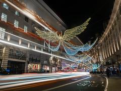 Angel (lloydlane) Tags: london night regentstreet christmas light trails street bus people lights streaks west end photography long exposure