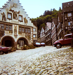Schiltach 1981, Baden-Wurttemberg, The Black Forest (Bobbex) Tags: medieval 16thcentury cobbles cobbled germanic halftimbered blackforest germany 1981 80s vintagecar rathaus