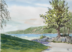 The Bluffs Park, Plein Air, 2019-06-09 (light and shadow by pen) Tags: landscape watercolor bluffspark art spring sunny