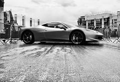 Ferrari in Cardiff (Hammerhead27) Tags: display show auto street car greyscale mono monochrome wales supercar cardiffbay italianpassionforspeed italia ferrari