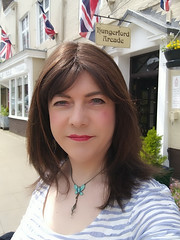 """Out and about"" in Hungerford today. (Joanne (Hay Llamas!)) Tags: transgender transwoman tg brunette tgirl cute uk brit british britgirl shopping hungerford antiques"