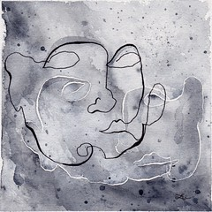 100 Days of Abstracts: 69/100 -- Contour Self-Portrait VIII (alisonleighlilly) Tags: allabstracts the100dayproject abstract abstractart art square squareformat portrait selfportrait selfie watercolor painting blackandwhite gray paynesgray yinyang balance gemini double ink line drawing contour