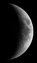 Moon - June 7th 2019 (Hadoland) Tags: moon waxing crescent lunar craters luna celestron c90 risingtech rt224 gso 29 red filter surface night nightsky nasa space astro astronomy astrophotography telescope skywatcher staradventurer illuminated