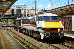 91119 67006 0Z91 Preston (British Rail 1980s and 1990s) Tags: train rail railway loco locomotive lmr londonmidlandregion mainline wcml westcoastmainline lancs lancashire livery preston liveried traction diesel electric ac station 0z91 allchange crewedieseldepot openday lsl locomotiveservicesltd royalsovereign 67006 swallow 91119 db dbc dbs cargo schenker 67 class67 londonnortheasternrailway lner ic225 intercity225 intercity drag br britishrail royal locomotiveserviceslimited crewedieseldepotopenday cd 91 class91