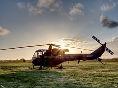 Westland Scout Helicopter xw613 (colin ryan photography) Tags: olympus olympusem1mk11 olympus12100pro olympus40150pro plane military militaryplane leeonsolent solentairport daedalus hmsdeadalus timelineevents sunset westland scout sun hdr ww2 ww11 dday 75th celebrations